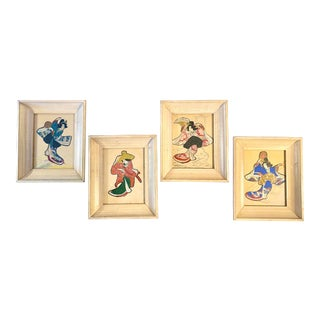 19th Century Japanese Paintings of Geishas -- Set of 4 For Sale