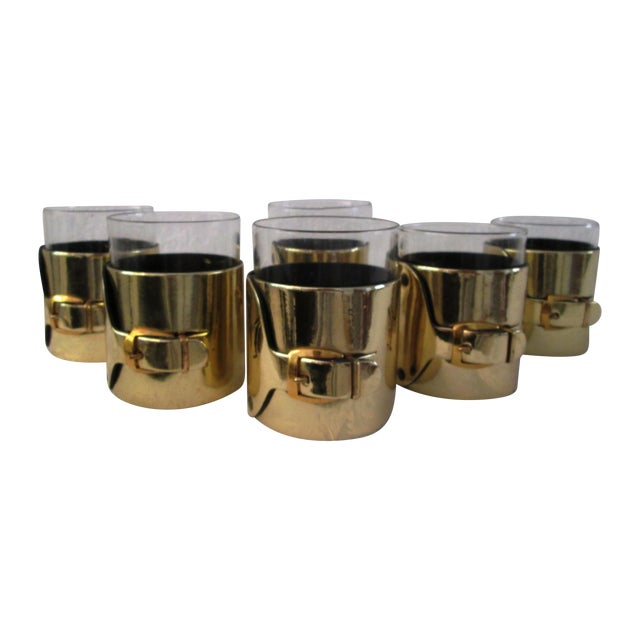 Gold Buckle Double Rocks Glasses - Set of 6 - Image 1 of 7