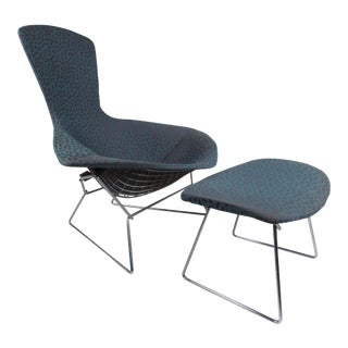 "Vintage Harry Bertoia ""Bird"" Chair With Ottoman by Knoll Furniture For Sale"