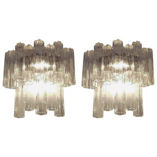 "Pair of Large Venini, ""Tronchi"" Murano Glass Sconces For Sale"