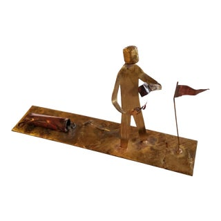 Abstract Frustrated Golfer Metal Sculpture For Sale