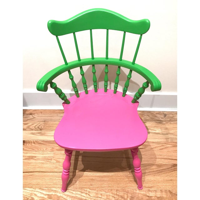 Vibrant Colorful Comb Back Chairs - A Pair - Image 3 of 7