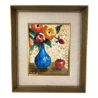 Mid 20th Century Oil Painting on Board of Floral Still Life, Framed For Sale