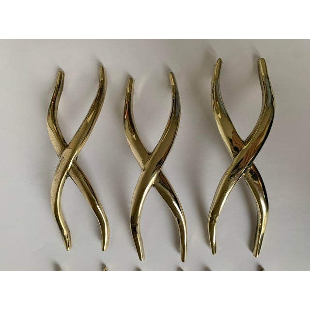 Pair of 1950s Polished Brass X Pulls For Sale - Image 4 of 13
