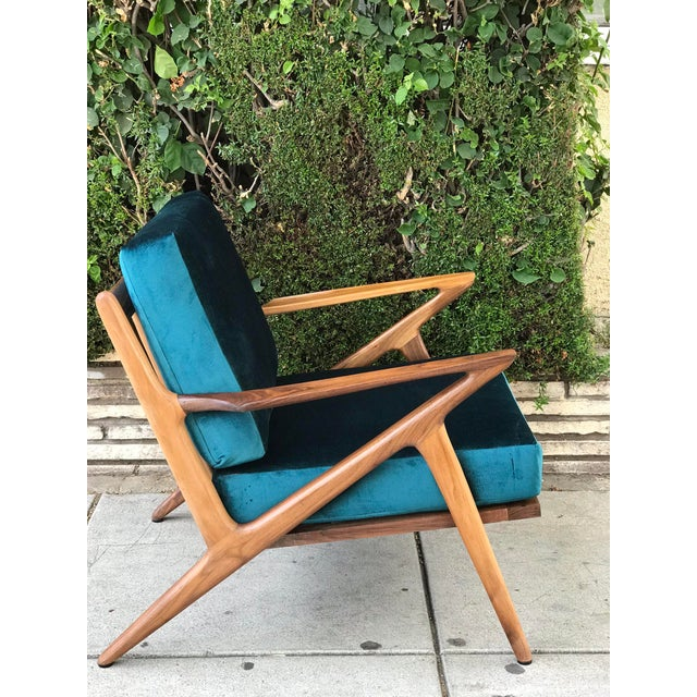 Brown Mid Century Z Chair in Peacock Jade For Sale - Image 8 of 13