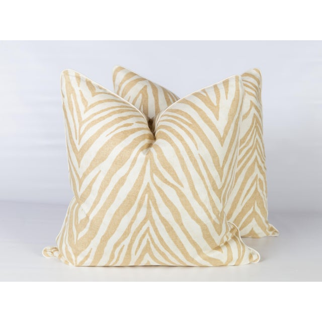 Caramel Linen Zebra Pillows, a Pair For Sale - Image 4 of 4