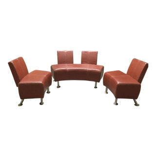 Vintage Industrial Leather & Steel Sofa Set For Sale