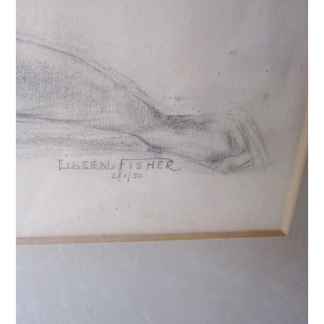 This is a stunning vintage 1931 signed and framed nude figure pencil drawing. It is an interesting, unconventionally posed...
