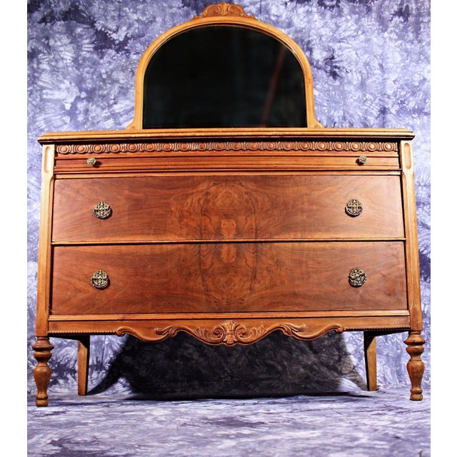 Antique Art Deco Veneered Dresser With Mirror Chairish