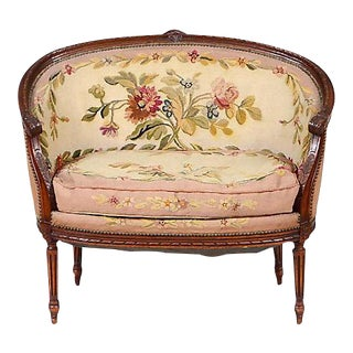 Antique Louis XVI Tapestry Upholstered Canapé