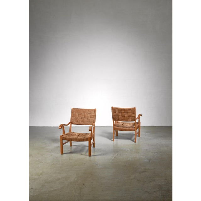 Fritz Hansen Fritz Hansen Beech and Seagrass Chairs, Denmark, 1930s For Sale - Image 4 of 5