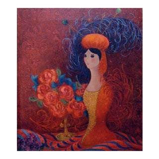 Roses, Feathers & Hatpin Lady Painting For Sale