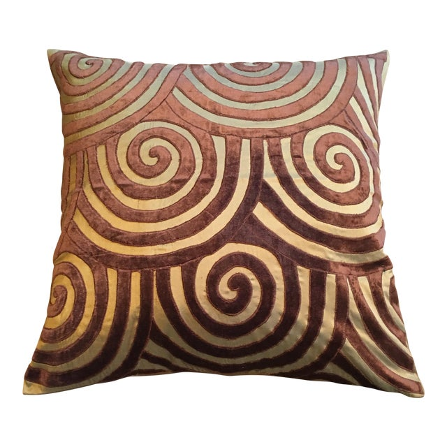 Brown Velvet & Gold Silk Swirl Pillow For Sale