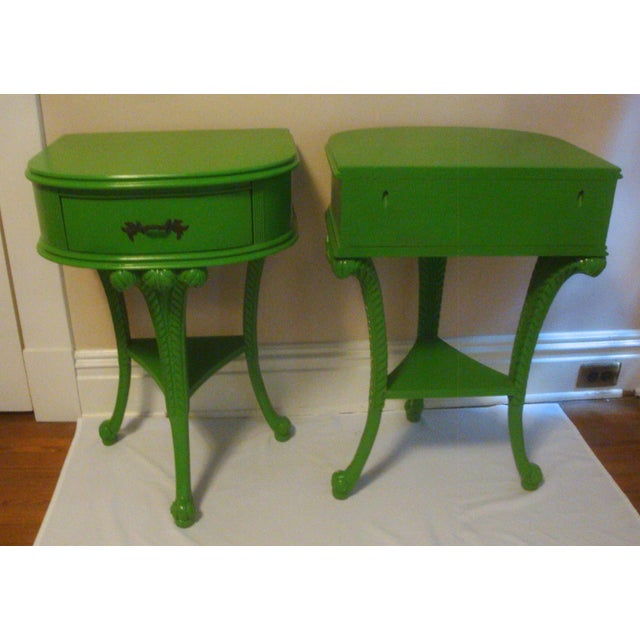 Pair Feather Plume Nightstands Side Tables Prince of Wales For Sale - Image 9 of 11