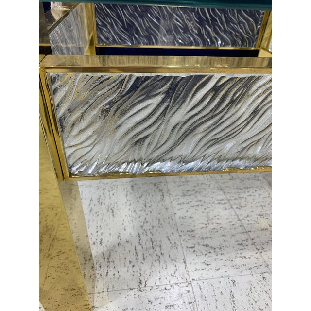 Pair of Modern Italian Murano Glass and Brass End Tables For Sale In Atlanta - Image 6 of 9