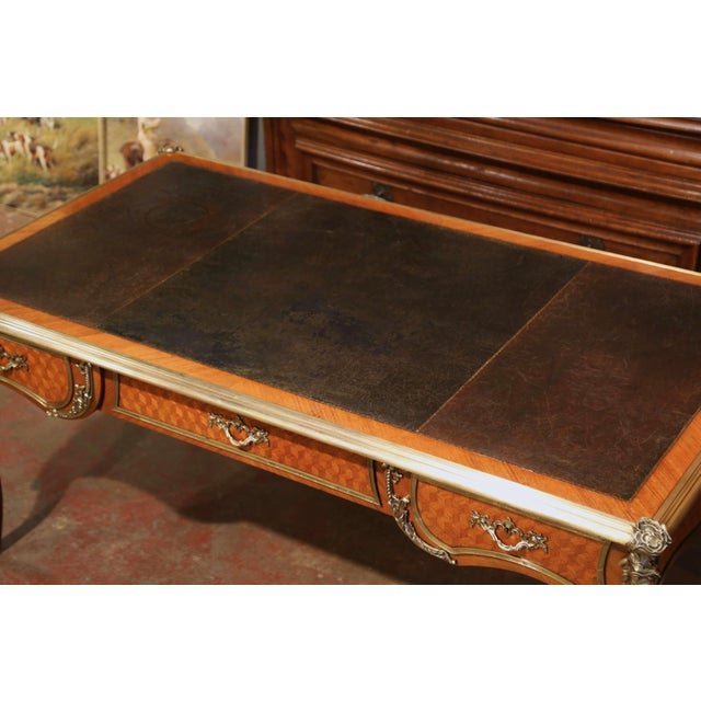 19th Century French Louis XV Marquetry and Bronze Bureau Plat With Leather Top For Sale - Image 10 of 13