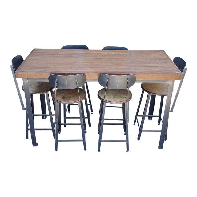 Industrial Counter-Height Table and Stools Custom Set For Sale