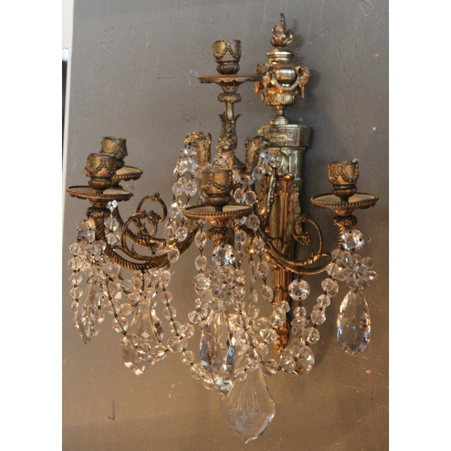 Antique French Bronze & Crystal Sconces - a Pair - Image 9 of 10