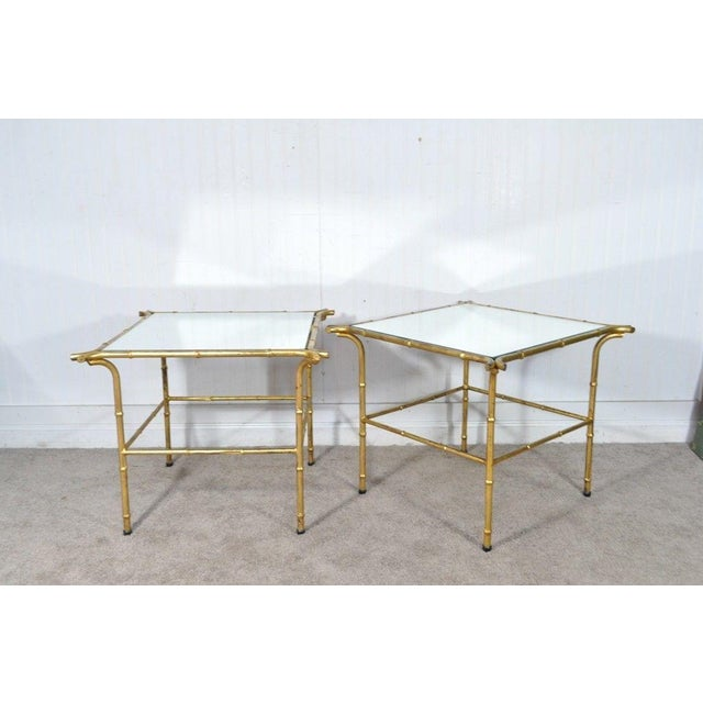 Pair Vintage Italian Hollywood Regency Faux Bamboo Gold Gilt Mirror Side Tables For Sale - Image 5 of 12