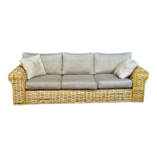 Polo Ralph Lauren Woven Rattan Sofa in Organic Cotton For Sale