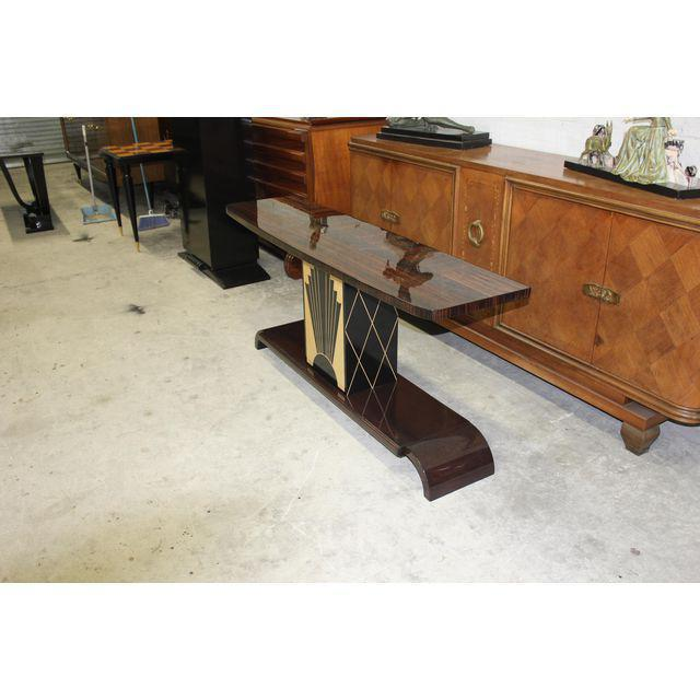 """Art Deco French Art Deco Exotic Macassar Ebony """"Sunray"""" Console Table, circa 1940s For Sale - Image 3 of 9"""