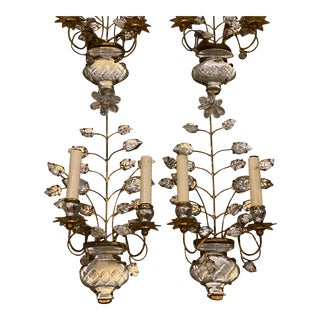 1920s Double Light Leaf Design Sconces - a Pair For Sale