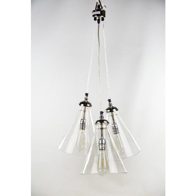 Modern Triple Cone Hanging Light For Sale - Image 3 of 10