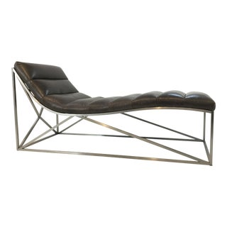 Caracole Modern Taupe Leather Band Together Chaise Lounger For Sale