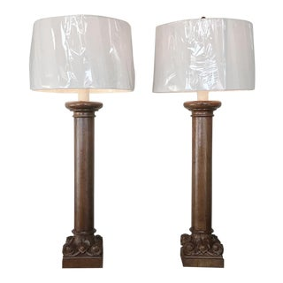 Pair 19th Century Carved Oak Column Table Lamps For Sale