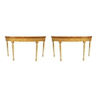 Pair of English Georgian Style Satinwood and Parcel Gilt Demilune Consoles For Sale