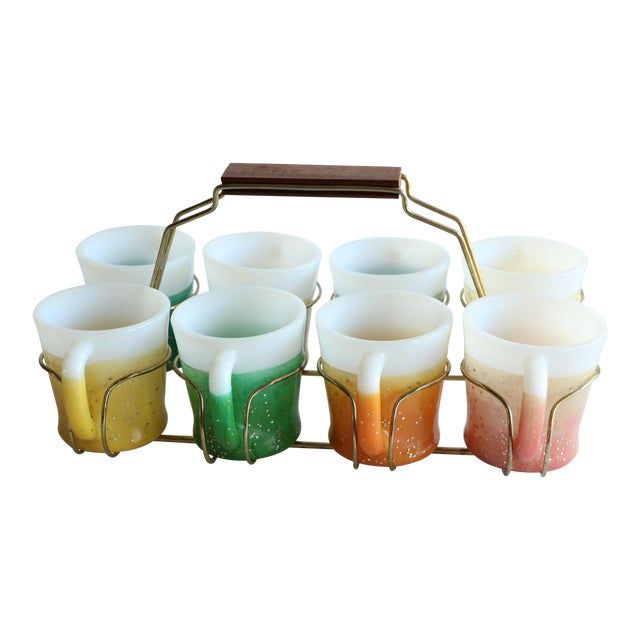 Glamalite Glitter Mugs in Caddy by Fire-King - Set of 8 - Image 1 of 11