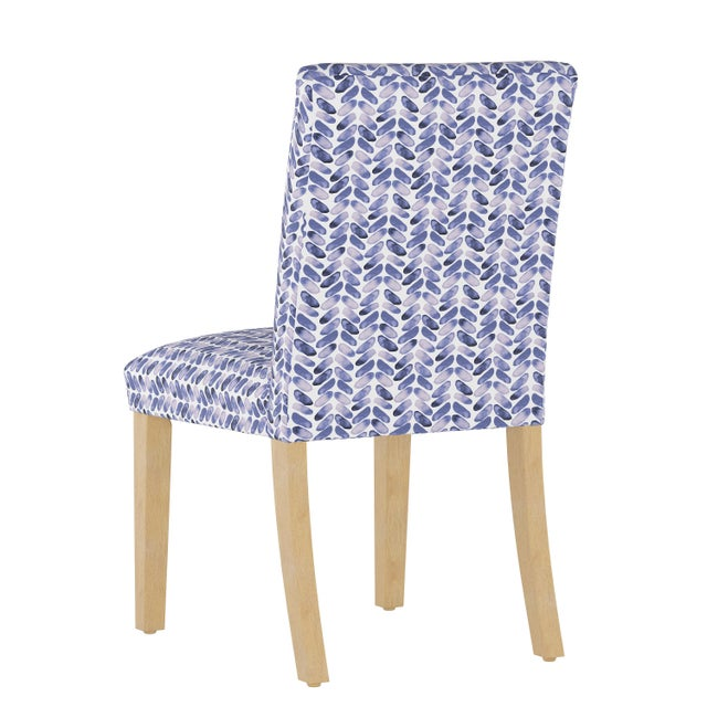 Contemporary Dining Chair in Cableknit Blue Oga For Sale - Image 3 of 7