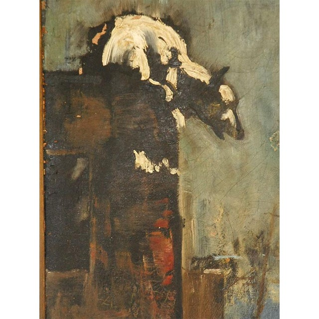 Art Deco Oil Painting of Bear Overlooking Shipyard For Sale - Image 3 of 9