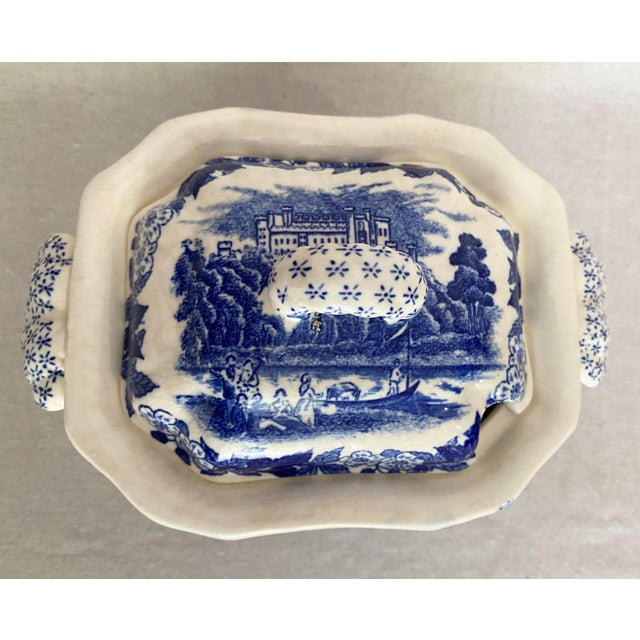 Shabby Chic Vintage Blue and White Gravy Boat For Sale - Image 3 of 13