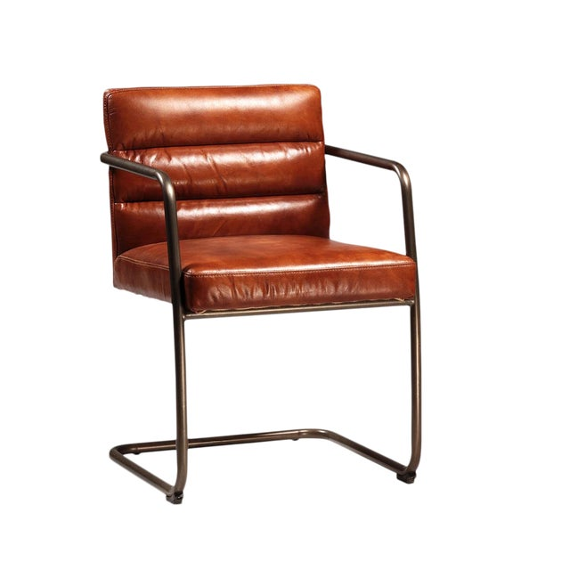 Retro Leather Arm Chair For Sale