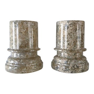 Vintage Neutral Tone Granite Column Style Bookends - a Pair