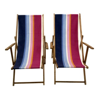 Vintage Teak Folding Sling Chairs - A Pair