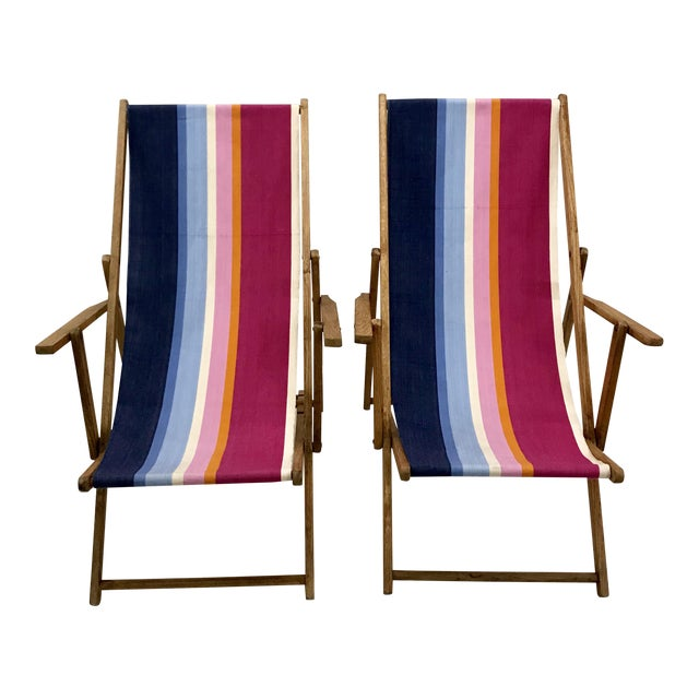 Vintage Teak Folding Sling Chairs - A Pair - Image 1 of 8