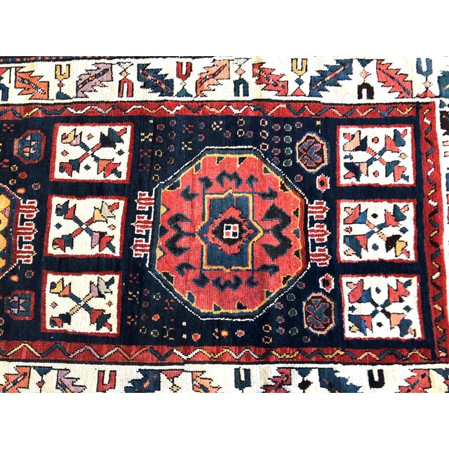 Early 19th Century Antique Persian Bakhtiari Runner Rug - 3′8″ × 9′ For Sale In Los Angeles - Image 6 of 7