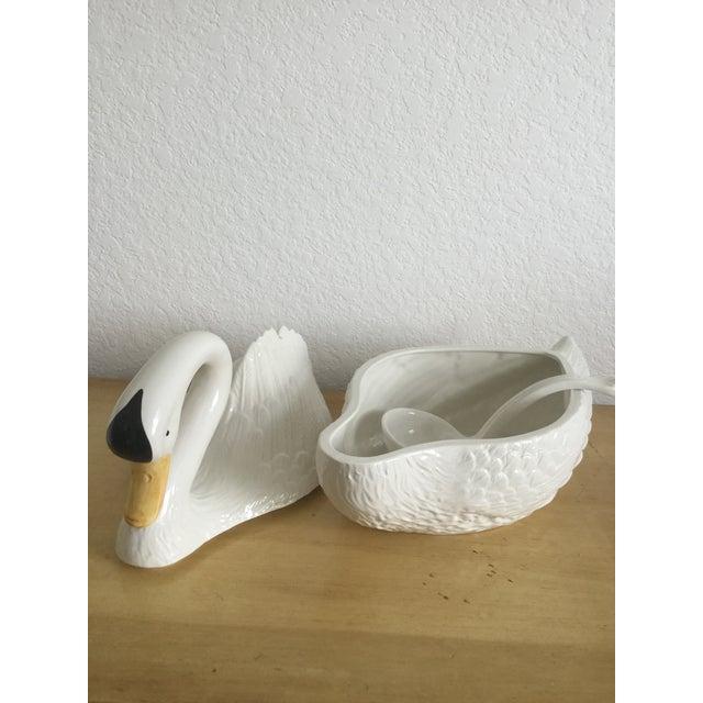 Italian Mid Century Ceramic Swan Tureen With Ladle For Sale In Miami - Image 6 of 13