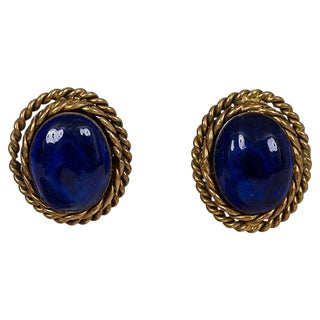 Chanel Blue Gripoix Earrings For Sale