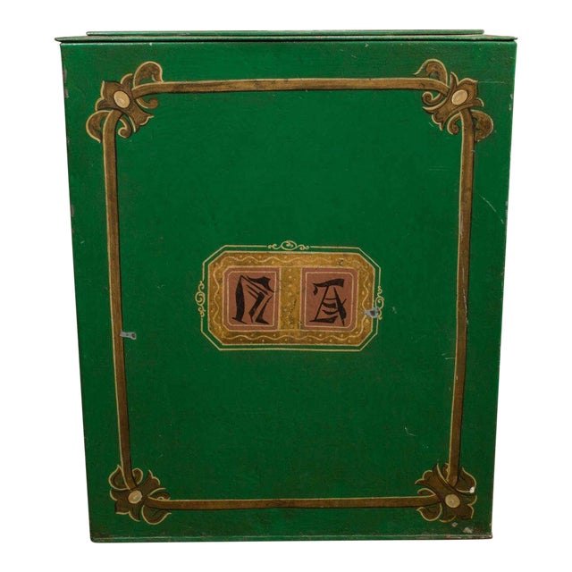 Large Scale Green Tin Bin, English circa 1880 For Sale