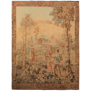 1890 Antique Flemish Tapestry Fine Wool & Silk For Sale