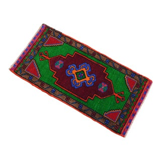 """Hand Knotted Oushak Rug. Colorful Rug, Bath Mat, Laundry Decor 1'6"""" X 3' For Sale"""