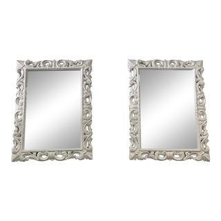 Vintage White Lacquered Mirrors - A Pair For Sale
