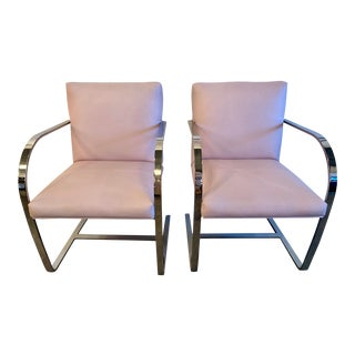 Pair of Cy Mann Flat Bar Chrome Brno Style Cantilever Chairs For Sale