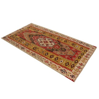 """Vintage Sivas Green and Red Wool Kilim Rug-3'4'x6'3"""" For Sale"""