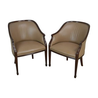 Smith & Watson Mahogany & Tan Leather Hepplewhite Style Pair Tub Chairs For Sale