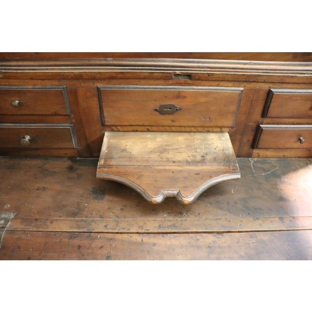 18th Century Italian Antique Louis XV Walnut Carved Trumeau, Secretaire For Sale - Image 9 of 12