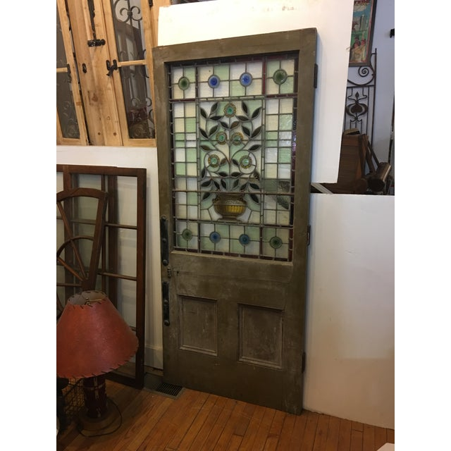 Beautiful 1920's English Stained Glass Door For Sale - Image 4 of 11